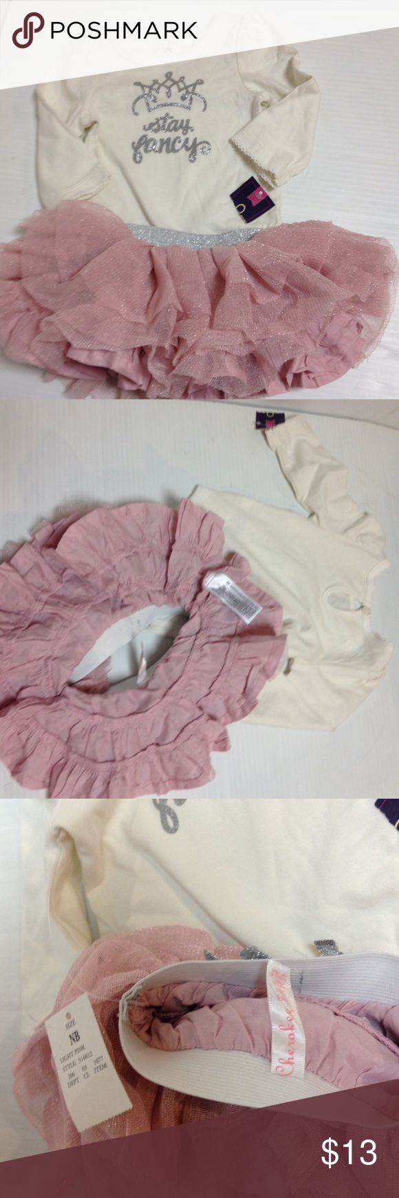 Newborn princess ballerina tutu 2-piece Cherokee brand new with tags Cherokee newborn outfit. Sizing tag has been removed from top but all other tags are intact. Cherokee Matching Sets