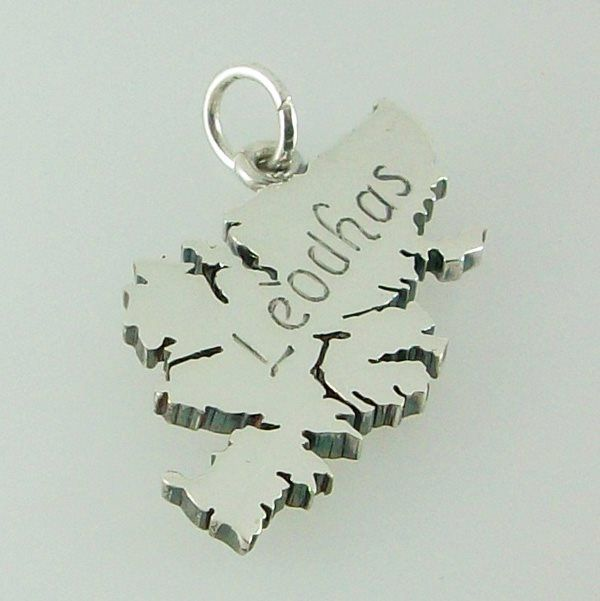 Isle of Lewis pendant hand crafted in sterling silver engraved in gaelic Leodhas. Supplied with a presentation box.  Hallmarked at the Edinburgh Assay Office 30mm X 20mm 4.5g approx weight