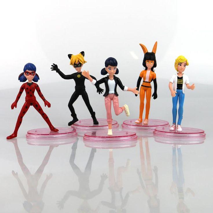 New arrive 5 Pcs/set Miraculous Ladybug Action Figure Toys 9-11 cm Ladybug Cat Noir Adrien Marinette PVC Dolls For Kids Gift
