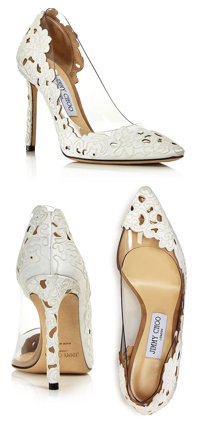 d727bcff70 White Cutwork Lace Detail Shoes. Women's Romy Clear Floral Pumps by Jimmy  Choo. New Season Spring Summer 2019 fashion. Best Bridal Shoes for Spring  Summer ...