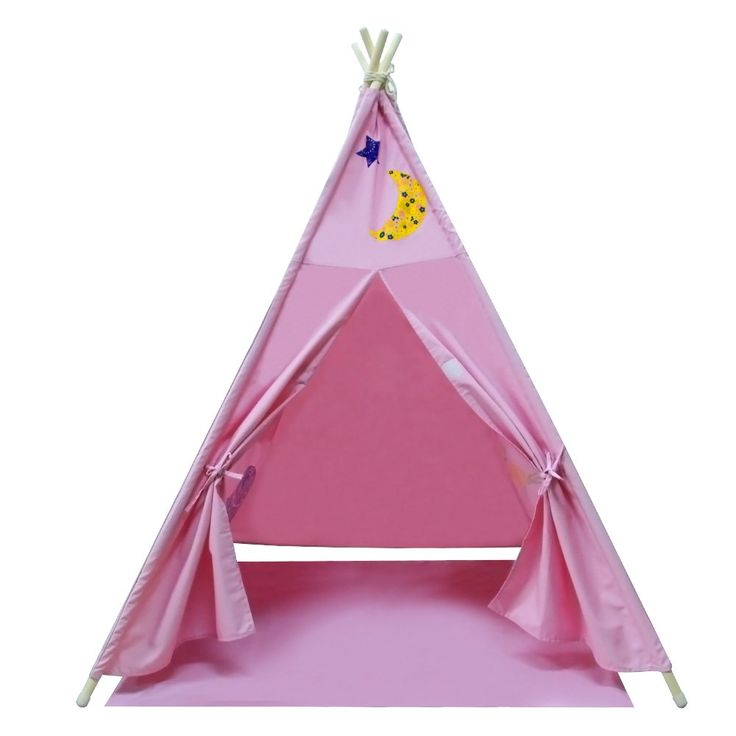 Yifi-Tek Canvas Teepee Tent for Kids With Floor Mat and Carrying Bag (Pink). ★ BEST QUALITY FOR YOUR KIDS ★ Yifi-Tek kids play tent are made of non-toxic, durable, breathable and 100% COTTON CANVAS. The tent poles are made of sturdy pine wood and are free of chemical odors and harmful substances. ★ CHILDREN'S PRIVACY PROTECTION ★ There is two Velcros to close up the front door and a window with curtains on canvas' two sides, which can perfectly protect children's privacy, at the same time...
