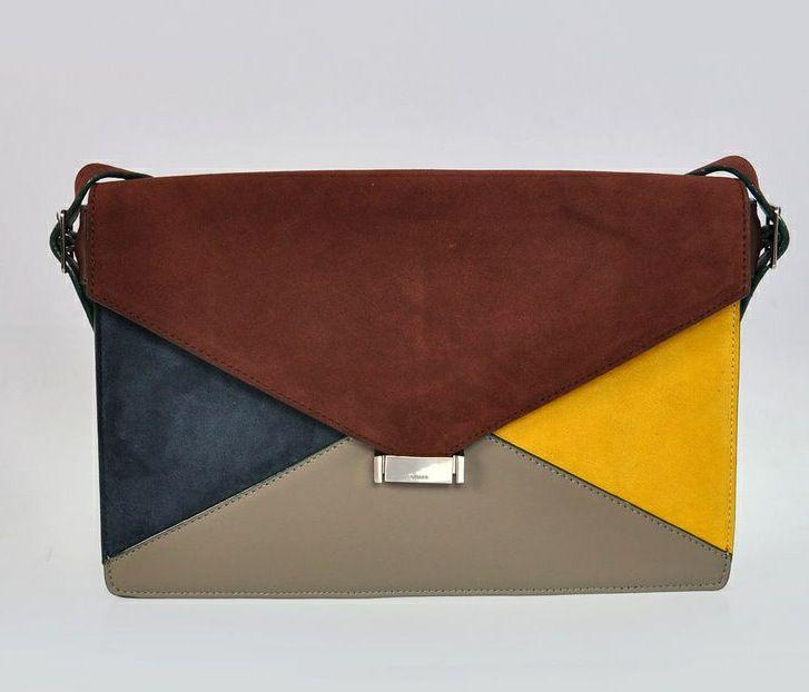 #D333-5 Celine 2012 Large Diamond Patchwork Leather Clutch