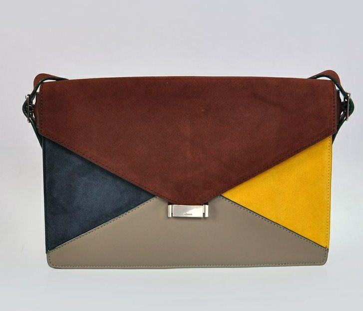 #D333-5 Celine 2012 Large Diamond Patchwork Leather Clutch
