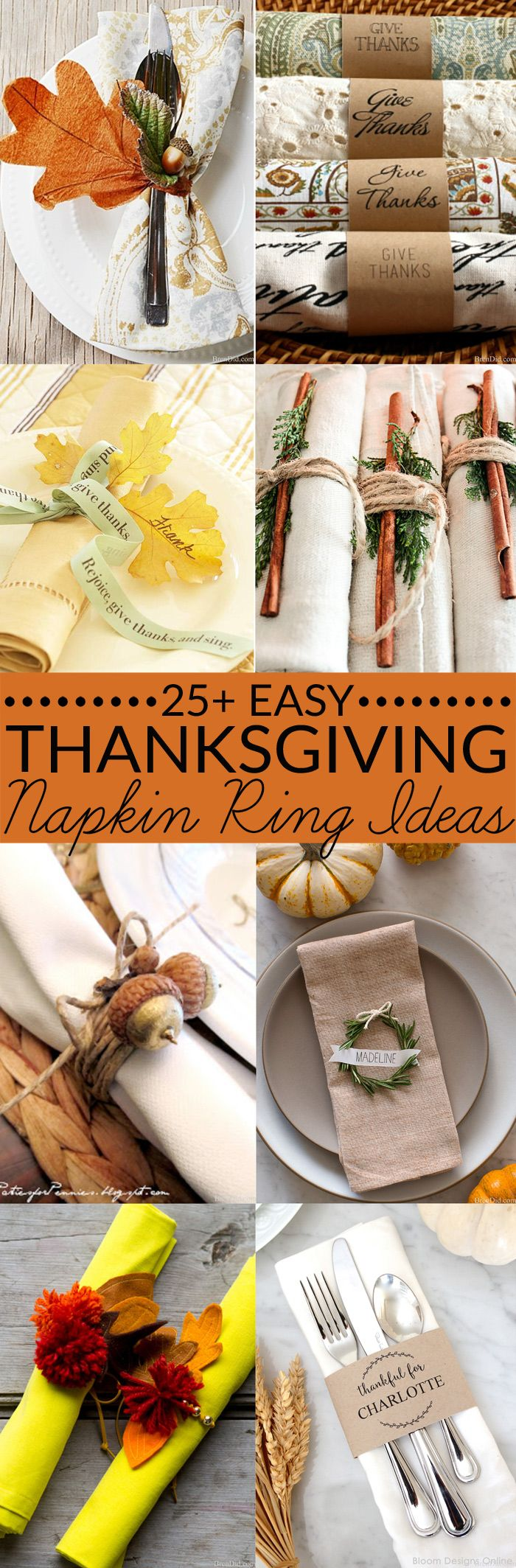 These adorable DIY napkin rings will inspire you to make your own Thanksgiving napkin rings this Thanksgiving. These easy projects can all be completed before the big feast! Free printable, Thanksgiving decor, Thanksgiving table ideas.