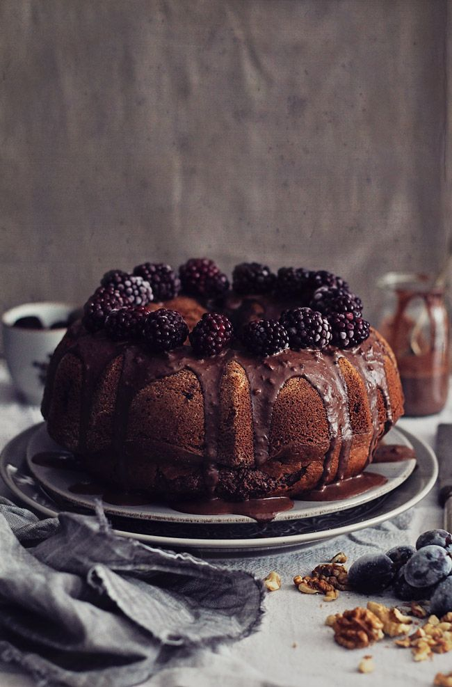 Walnut Bundt Cake with Vegan Chocolate Sauce | The Awesome Green