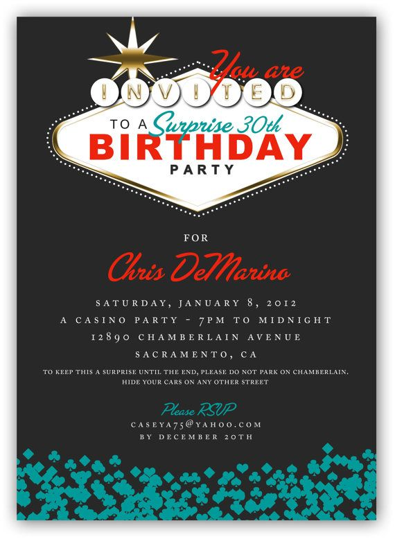 Casino Themed Birthday Cards Fabulous Las Vegas Party Invitation 4x6 Or 5x7 Digital File