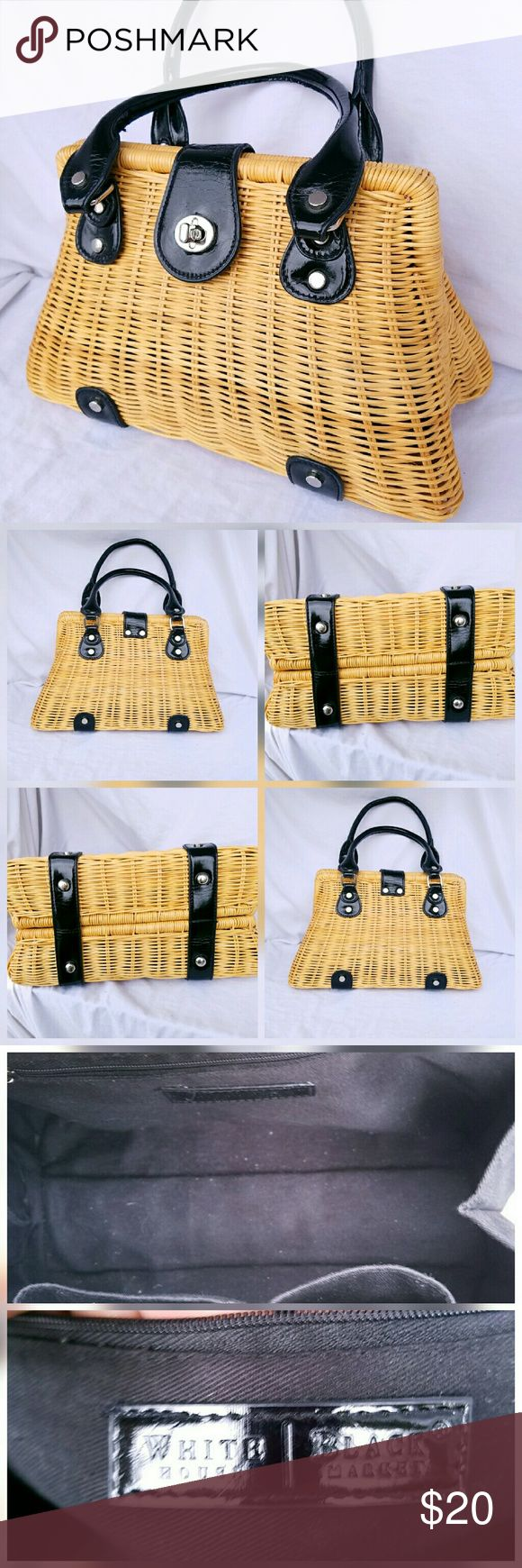 """WHBM Wicker Satchel - White House Black Market - Wicker Satchel with black faux leather trim - Interior features 2 slip pockets and a zipper pocket - Perfect Gift for that basket lover in your life  Measures approximately 11"""" W x 8"""" H x 4"""" D with 5"""" Strap drop. White House Black Market Bags Satchels"""