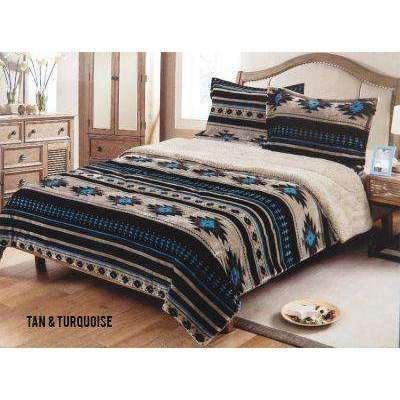 Queen Size 3 Pc Borrego Comforter Set With Southwest Design