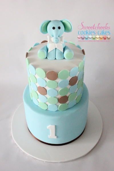 1st Birthday / Christening Elephant Cake by Sweetcheeks Cookies and Cakes, Melbourne and Sydney