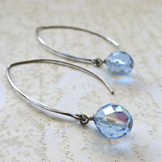 Pale sapphire blue beaded earrings faceted czech glass beads