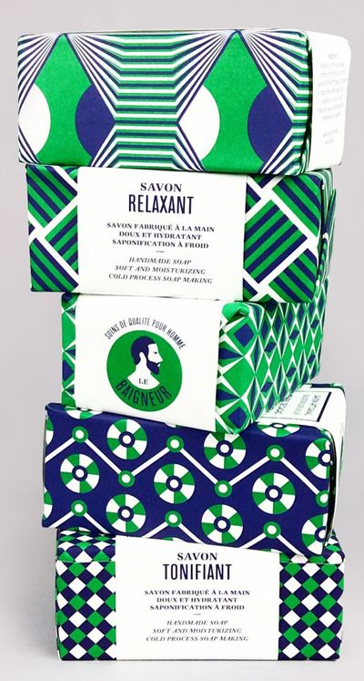 This geometric design with blue, green, and white rather than something cutesy is designed to appeal to a more male audience.