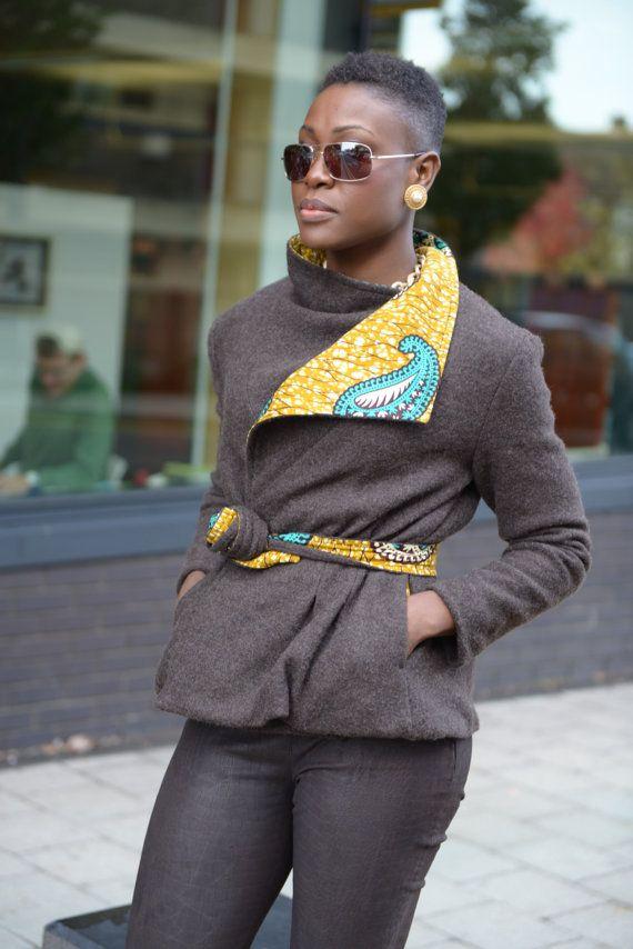 Brown Olana African print jacket by Gitas by GitasPortal ~ African fashion, Ankara, kitenge, Kente, African prints, Braids, Asoebi, Gele, Nigerian wedding, Ghanaian fashion, African wedding ~DKK