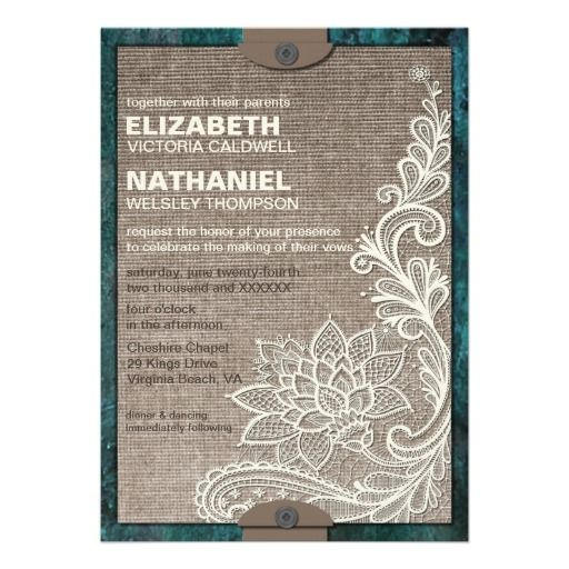 Rustic Chic Burlap & Lace Wedding Invitation from Zazzle.com
