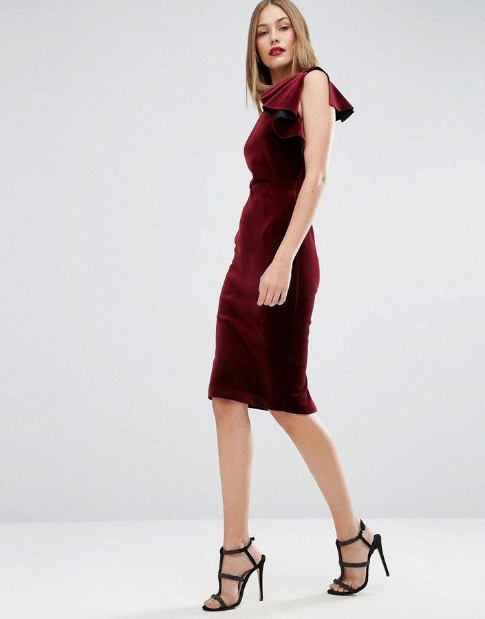 Asos Premium Velvet One Shoulder Ruffle Midi Dress