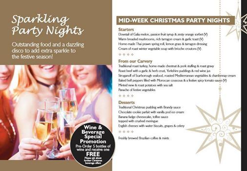 Take a look at our Mid-Week Party Nights; for a Xmas party with outstanding food & a dazzling disco - Call to make a reservation or to find out more on this and other events 01937 580115