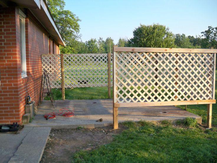 Patio privacy diy lattice fence projects pinterest for Cheap patio privacy ideas