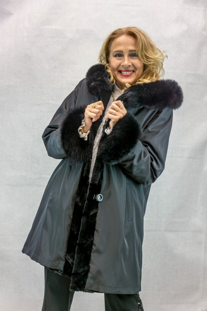 "Reversible Black Sheared Mink 35"" Parka with Black dyed Fox Trim ..."