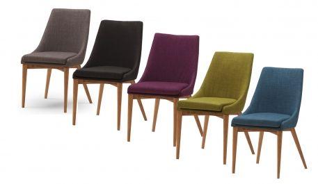 Abby är en snygg stol i valfritt tyg med ekfärgade, vitoljade eller vitlackade träben. Skapa din favoritkombination ihop med exempelvis matbordet Eka (som finns i oljad ek, vitoljad ek och vitlack). Stolen kommer från tillverkaren New Line.