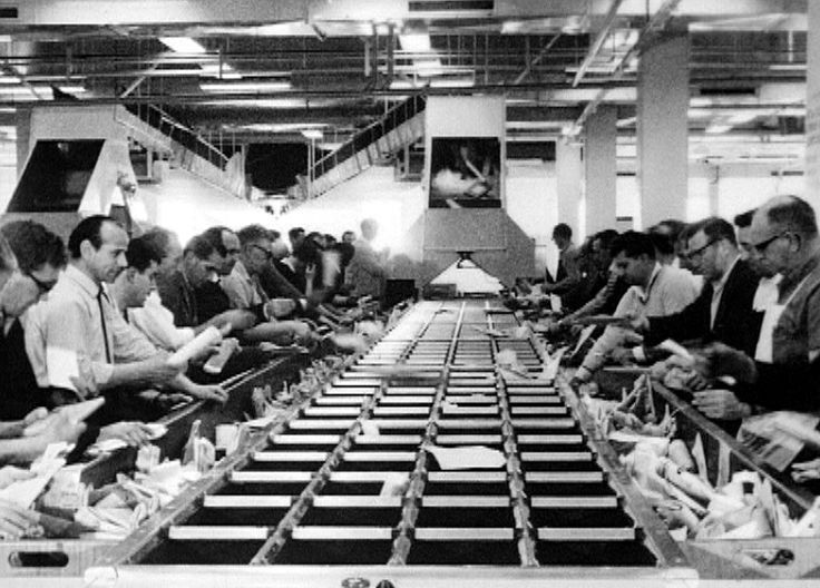 The clip explains the four types of mail to be sorted and the way in which the postal sorting officers and the customs officers, at the new Redfern Mail Exchange, work in conjunction with the mechanised sorting equipment. 1966.  Learn more about our history here: http://auspo.st/1C0gYkJ
