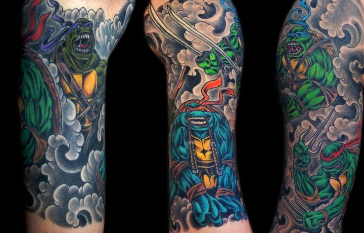 my teenage mutant ninja turtle half sleeve by eric wigger at the devil 39 s rose tattoo blue. Black Bedroom Furniture Sets. Home Design Ideas