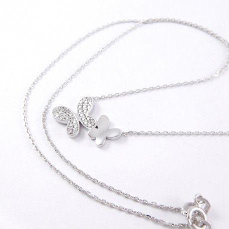 Fehérarany anker lánc köves pillangó medállal   Súly: 2,6 g    Hossz: 42 cm   Mindennapi viselet   Fehér arany közepes vastagságú anker nyaklánc nagyobb medálokhoz