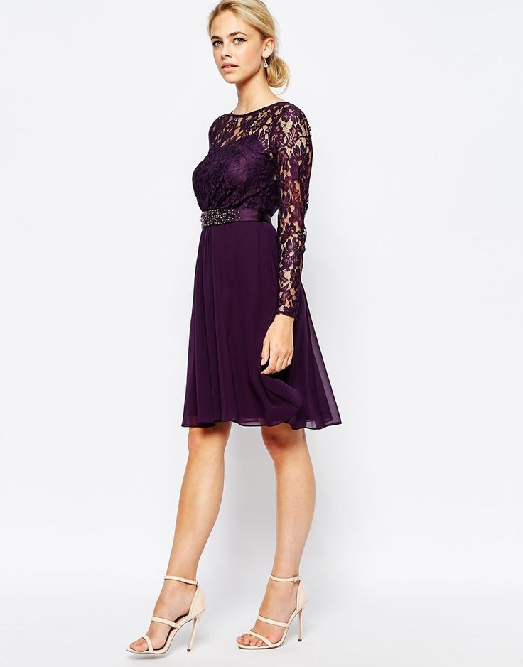 Purple bridesmaid dresses beautiful lace and short dresses for Beautiful dress for wedding guest