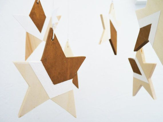 Beach star mobile No.1, with natural wood, white and antique gold color, LARGE stars, handmade. LIMITED EDITION