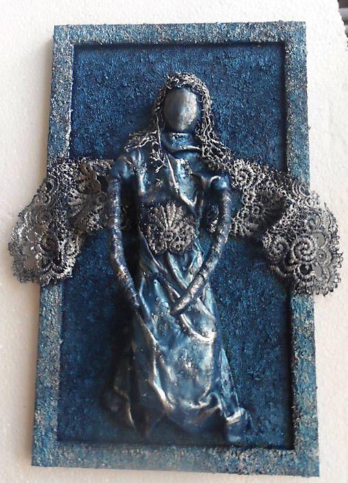 ednahandmade / plastický obraz anjela v ráme