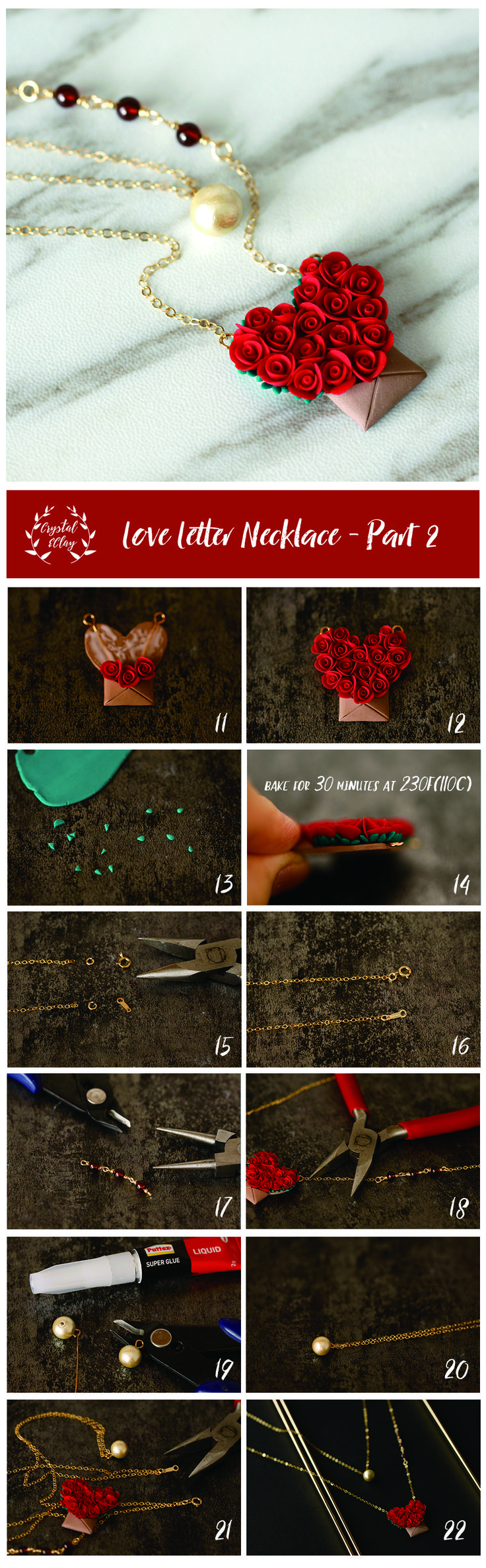 Free step-by-step polymer clay rose love letter necklace tutorial. Click the image to read the in-depth article.