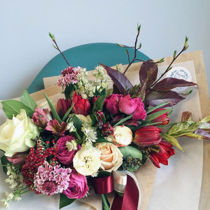 Deep red and fuchsia nature inspired bouquet