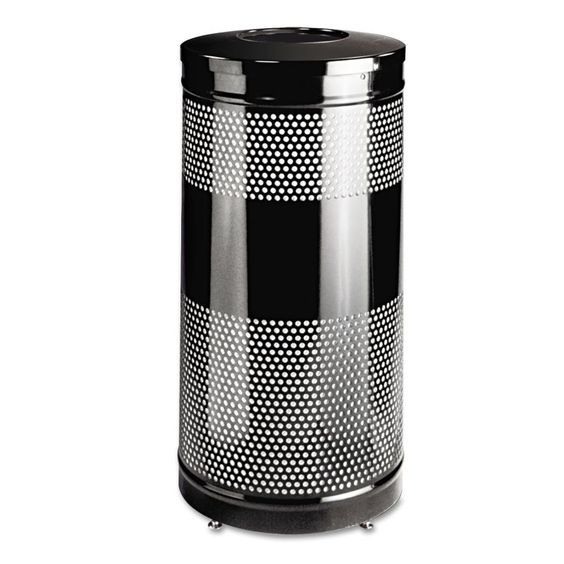 Rubbermaid Commercial RCPS3ETBK Classics Perforated Open Top Receptacle Round St Black Janitorial Supplies Waste Receptacles Waste Receptacles