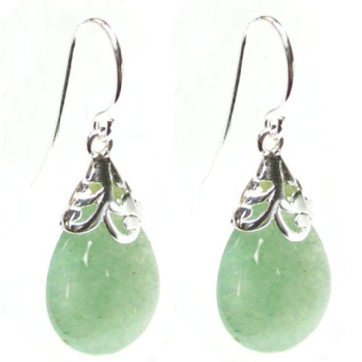 Queenberry Natural Aventurine Green Teardrop Sterling Silver Filigree Flower Bail and French Hook Earwires Dangle Earrings: