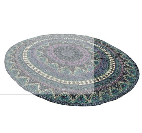 Peacock Tablecloth Round Beach Towel