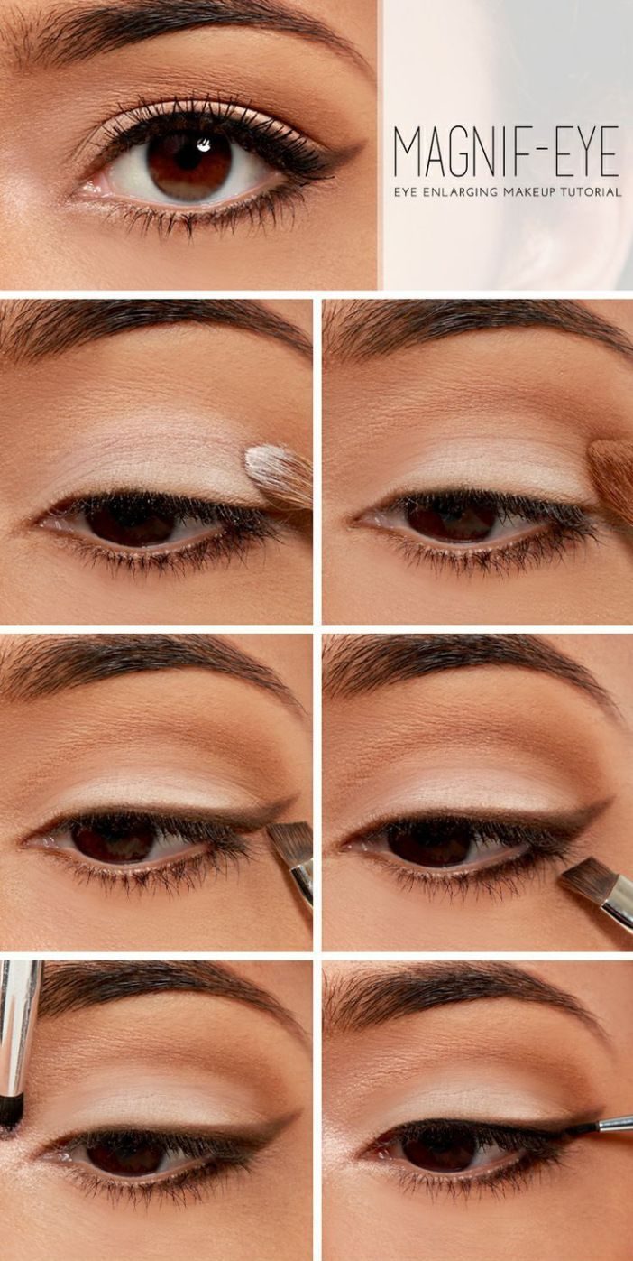 Agrandar el ojo con sombras marrones y blancas