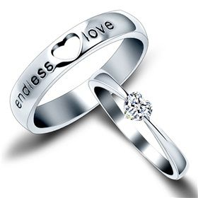 Endless Love Matching Couple Sterling Silver Engagement Rings on Yoyoon.com. Make every day valentine's day!
