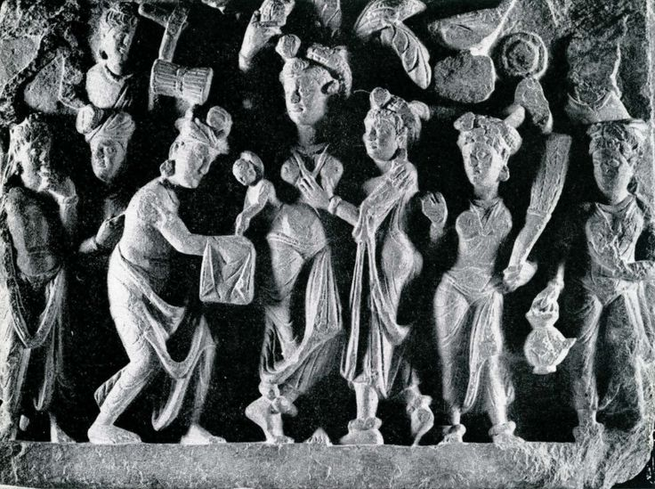 """Birth of Siddartha"",2nd century, schist, 133x 17, Lahore,Central Museum"