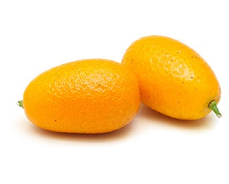 Kumquat: This pygmy of the citrus family is about the size of an olive, and the entire fruit, from peel to flesh, is edible. It's actually the sweeter rind—not the tart, dry flesh—that houses most of the flavor. Kumquats are often candied or pickled; alternatively, we suggest slicing or halving and seeding them before adding them to desserts or baked goods.: Food Ideas, Food Service, Kumquat, Food Mmmm, Entire Fruit, Flesh That Houses, Food Education I, Olive