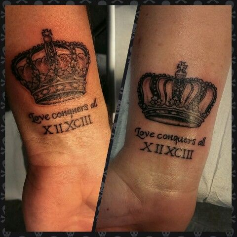 me and my wifes king and queen crown tattoos love conquers all tattoo brainstorm. Black Bedroom Furniture Sets. Home Design Ideas