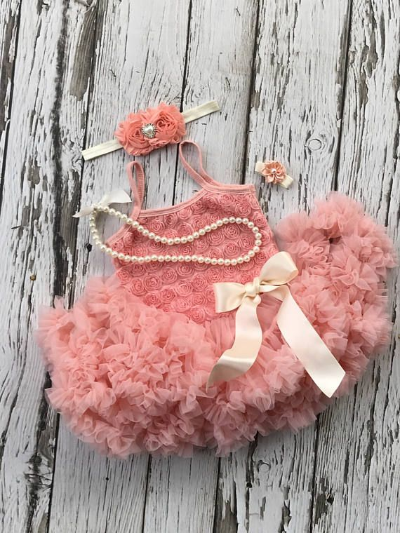 Tutu dress. Baby girl 1st birthday outfit. First birthday. Baby tutu. Peach birthday outfit. 2nd birthday outfit, Toddler tutu dress #tutudresses #birthdaytutu #peach #babygirl #pettiskirt #firstbirthday