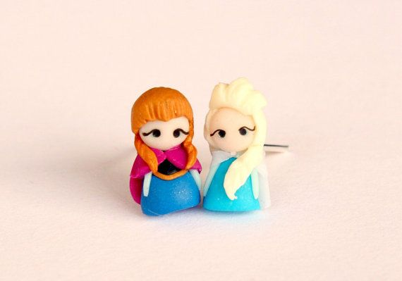 Anna and Elsa from Frozen earrings inspired by by CandyDesignCrea Love those so much!!!