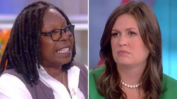 """When Sarah Huckabee Sanders announced that she """"completely disagreed"""" with a Politifact report which found only 5 percentof President Donald Trump's statements were true,""""The View"""" co-host Whoopi Goldberg had only one question."""