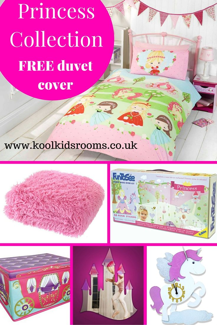Princess Themed Bedroom Collection - Starter pack consists of 6 items: Pretty Princess single duvet, candy pink shaggy throw, Princess room make-over kit, Unicorn wall clock, castle mirror & Princess Carriage storage box. Girls Princess bedroom ideas.