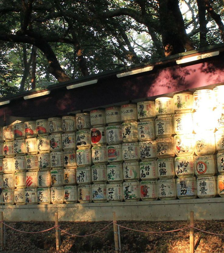 Sakefässer am Meiji-jingu, dem großen Meiji-Schrein in Shibuja, Tokio.