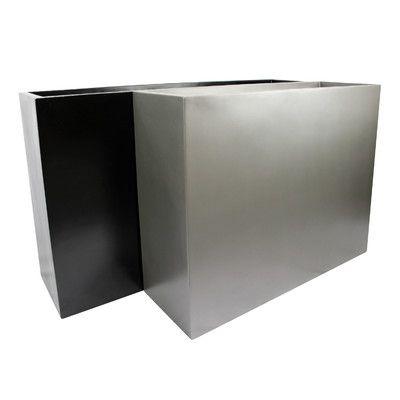 "Root and Stock Calistoga Fiberglass Planter Box Color: Black, Size: 30"" H x 48"" W x 12"" D"