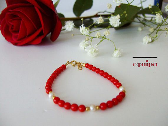 Real Red Corals Bracelet Dainty gold bracelet Real