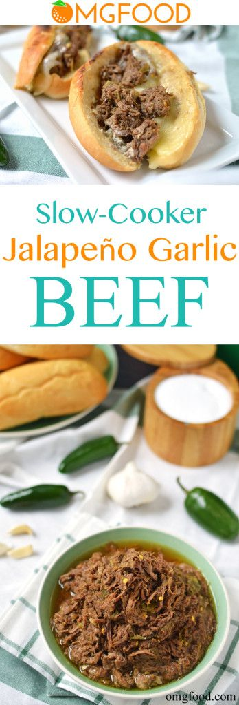 Slow Cooker Jalapeño Garlic Beef - This spicy beef goes great on sandwiches with horseradish mayo and cheese or over rice and veggies!