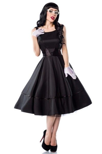 Meerweibchen.de Satin-Kleid - weites, hochwertiges Kleid im Rockabilly-Stil - mit schöner, angenähter Satinschleife - diese kann vorne oder hinten gebunden werden - seitlicher Reißverschluß  - ein Petticoat sorgt für den perfekten Retro-Look (12147) - die weißen Satin-Handschuhe sind nicht enthalten