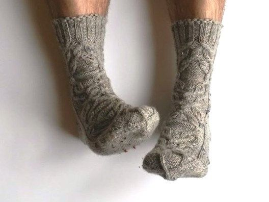 Socks for him. Hand knit cable wool socks. Mens by GrietaKnits
