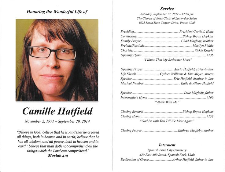 35 best images about printable wedding programs – Sample of Funeral Programs