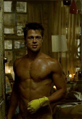 Brad Pitt In Fight ClubRaise your hand if this is peak Brad Pitt. (Everyone raises hands.) #refinery29 http://www.refinery29.com/2016/02/100461/hot-shirtless-male-celebrities-gifs#slide-1
